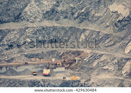 Mining quarry with special equipment - stock photo