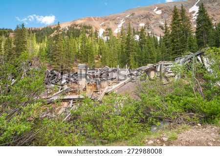 Mining ruins of the Saints John ghost town in Colorado. - stock photo