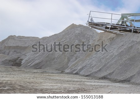 mining sand from the riverbed on Danube river, in Serbia. - stock photo