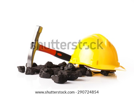 Mining tools with protective helmet, - stock photo