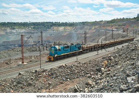 Mining train delivering iron ore from the opencast