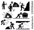 Mining Worker Miner Labor Stick Figure Pictogram Icon - stock vector