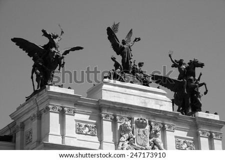 Ministry of Agriculture, Fisheries and Food of Spain headquarters, Madrid. Famous sculpture - Glory and the Pegasi. Black and white tone - retro monochrome color style.
