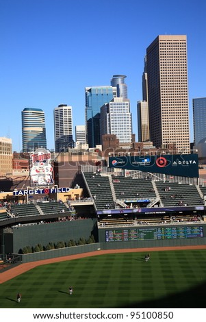MINNEAPOLIS - APRIL 21: Target Field, the new outdoor stadium of the Minnesota Twins, on April 21, 2010 in Minneapolis, Minnesota. The ballpark seats 39,504 and cost over $500 million to construct. - stock photo