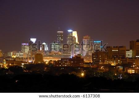 Minneapolis at Night - stock photo