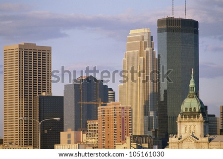 Minneapolis buildings in afternoon light - stock photo