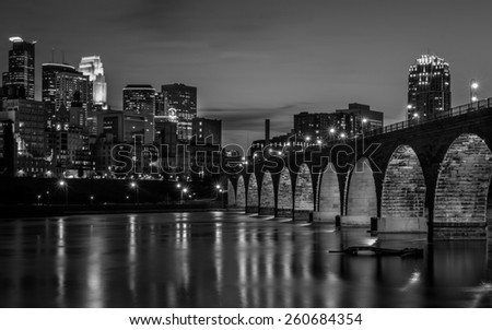Minneapolis in Black and White - stock photo