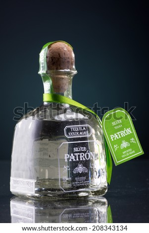 MINNEAPOLIS MINNESOTA, UNITED STATES OF AMERICA - JULY 2014: Patron Silver Tequila. Patron is a famous alcoholic drink served in numerous beverages - stock photo
