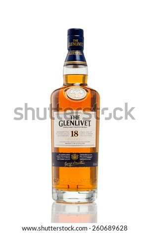 MINNEAPOLIS MINNESOTA, UNITED STATES OF AMERICA - March 2015: The Glenlivet 18 Year Scotch Whisky. The Glenlivet is a Famous Alcoholic Drink - stock photo