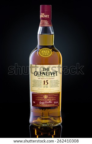 MINNEAPOLIS MINNESOTA, UNITED STATES OF AMERICA - March 2015: The Glenlivet 15 Year Scotch Whisky. The Glenlivet is a Famous Alcoholic Drink - stock photo