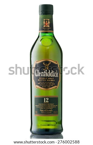MINNEAPOLIS MINNESOTA, UNITED STATES OF AMERICA - May 2015: The Glenfiddich 12 Year Scotch Whisky. Glenfiddich is a Famous Alcoholic Drink - stock photo