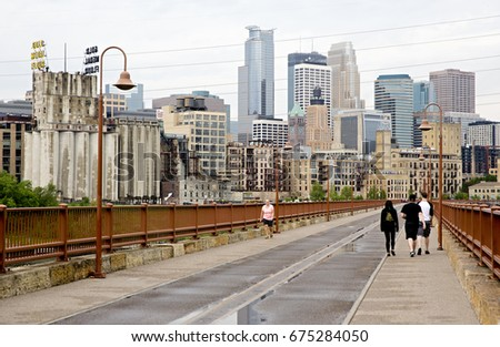 MINNEAPOLIS - MINNESOTA, USA: May 2017:The skyline of Minneapolis as seen from Stone Arch Bridge
