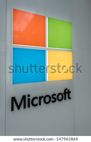 MINNEAPOLIS,MN - JULY 28:Large Microsoft Corporation logo in Mall of America, in Minneapolis, MN, on July 28, 2013. The company was founded by Bill Gates and Paul Allen on April 4, 1975. - stock photo