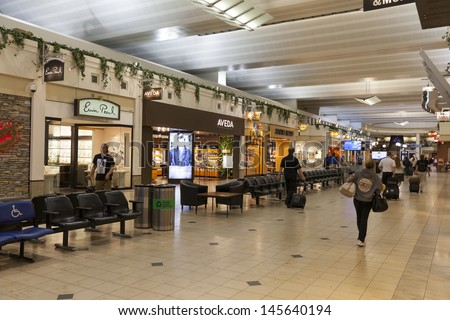 MINNEAPOLIS, MN - JULY 02,  - Minneapolis Airport on July 02, 2013  in Minnesota. Minneapolis�¢??Saint Paul International Airport is the 17th busiest airport in the United States. - stock photo