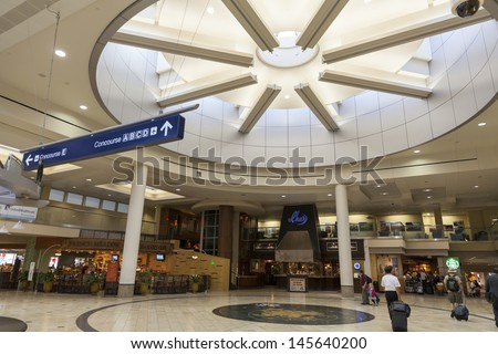 MINNEAPOLIS, MN - JULY 02,  - Minneapolis Airport on July 02, 2013  in Minnesota. The Minneapolis International airport is the 41st busiest airport in the world. - stock photo