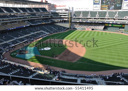 MINNEAPOLIS, MN - JUNE 15: View of Target Field during batting practice before Major League Baseball game between the Colorado Rockies and the Minnesota Twins on June 15, 2010 in Minneapolis, MN - stock photo
