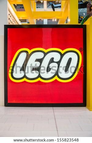 MINNEAPOLIS,MN - SEPTEMBER 26: Large Lego logo in Mall of America, in Minneapolis, MN, on September 26, 2013. - stock photo
