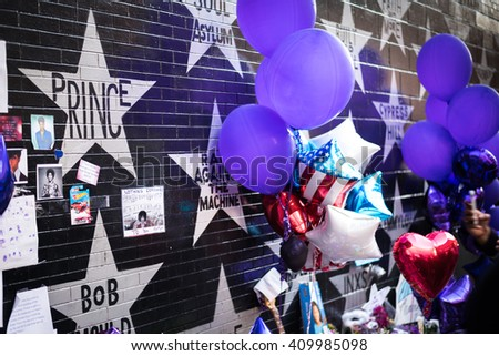 MINNEAPOLIS MN USA - April 22 2016 - Remembering Prince at the First Ave Nightclub - stock photo
