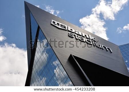 MINNEAPOLIS, MN, USA - JULY 15 2016: Minnesota Vikings US Bank Stadium in Minneapolis on a Sunny Day - stock photo