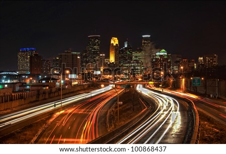 Minneapolis Skyline from Highway I-35