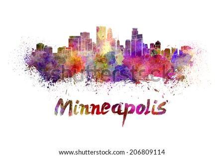 Minneapolis skyline in watercolor splatters with clipping path - stock photo