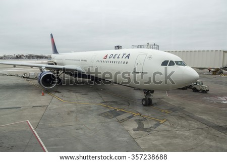 MINNEAPOLIS, USA - DECEMBER 28, 2015: DELTA AIRLINES plane in Minneapolis Airport. USA