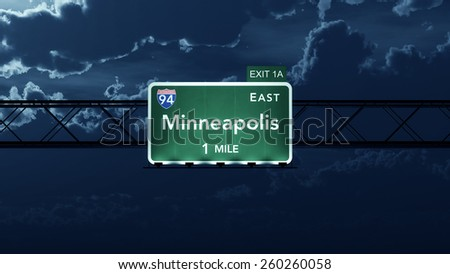 Minneapolis USA Interstate Highway Road Sign - stock photo