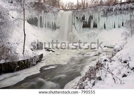 Minnehaha Falls, Minneapolis, Minnesota in winter - stock photo