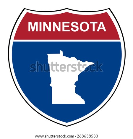 Minnesota American interstate highway road shield isolated on a white background. - stock photo