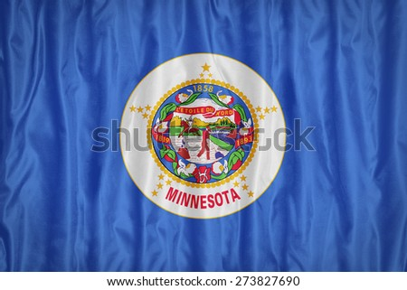 Minnesota flag pattern with a peace on fabric texture,retro vintage style - stock photo