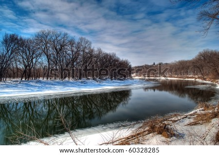 Minnesota River in the Wintertime near savage MN - stock photo