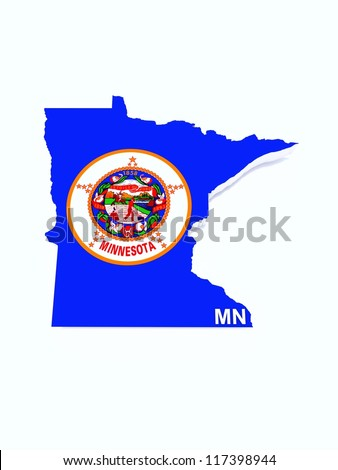 minnesota state flag on map - stock photo