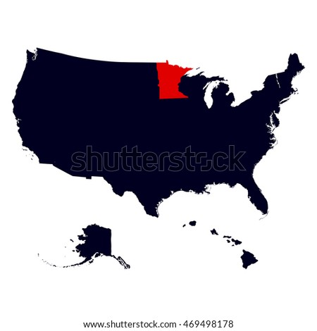 Minnesota State in the United States map