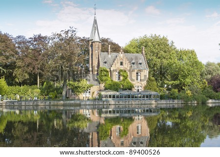 Minnewater lake. It is a canalized lake in Bruges, Belgium. The Dutch word Minne meaning love