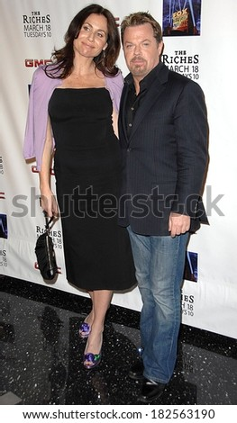 Minnie Driver, in Prada shoes, Eddie Izzard at Screening of FX Network's RICHES Season 2 Premiere, Pacific Design Center, Los Angeles, March 16, 2008 - stock photo
