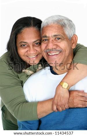 Minority couple set against a white background - stock photo
