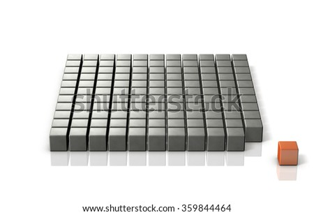 Minority that is independent from the majority group. isolated, computer generated image - stock photo