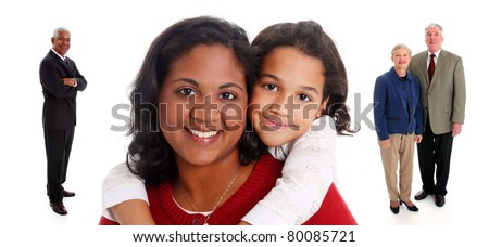 Minority woman and her daughter with grandparents on white background - stock photo