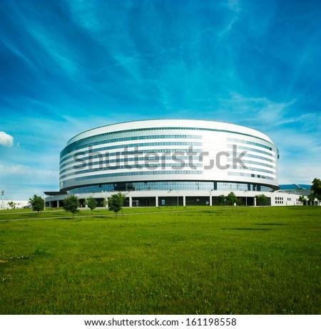 Minsk Arena in Belarus. Ice Hockey Stadium. The Venue for 2014 World Championship IIHF. - stock photo