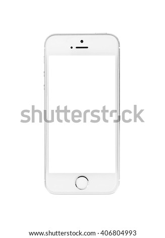 Minsk, Belarus - April 16, 2016: Apple iPhone 5, 5S. White version. The operating system iOS 9. Apple Inc. Located in USA.