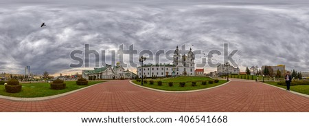 MINSK, BELARUS - 8 APRIL 2016: 360 degree panorama with Doves flying over Svyato-Duhov (Saint Spirit) Cathedral in Minsk, Capital of Belarus