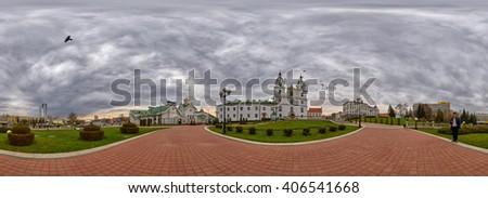 MINSK, BELARUS - 8 APRIL 2016: 360 degree panorama with Doves flying over Svyato-Duhov (Saint Spirit) Cathedral in Minsk, Capital of Belarus - stock photo