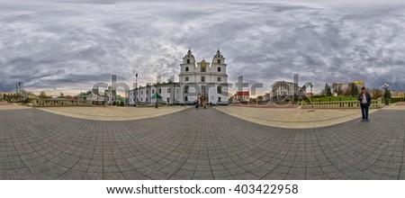MINSK, BELARUS - APRIL 08, 2016: 360 Degree Spherical Panorama of Holy Spirit Cathedral, Main Landmark of Minsk, The Capital of Belarus - stock photo