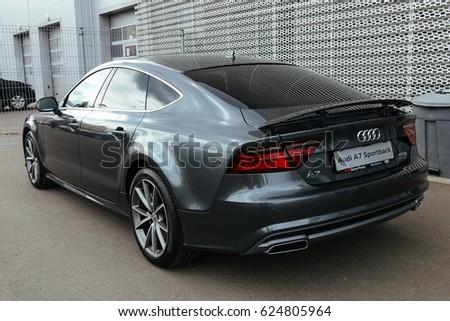 MINSK, BELARUS APRIL 14, 2017: New Audi A7 Sportback near the dealership of Audi in Minsk