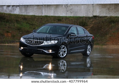 MINSK, BELARUS APRIL 14, 2016: New Geely Emgrand GT at the test drive event for automotive journalists from Minsk