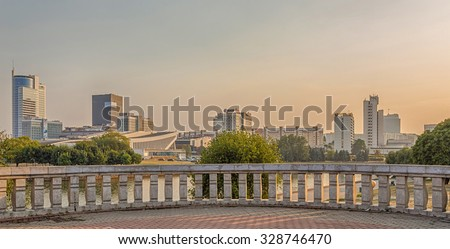 MINSK, BELARUS  - August 26, 2015: View of the city of Minsk from the embankment of the river Svisloch.