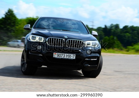 MINSK, BELARUS - CICRCA JULY 2015: New BMW X6 M50d at the test drive event for automotive journalists from Minsk - stock photo