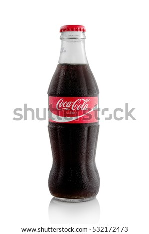 MINSK, BELARUS-DECEMBER 8, 2016: Editorial photo of Coca-Cola bottle isolated on white. Coca-Cola is a carbonated soft drink sold in stores, throughout the world.