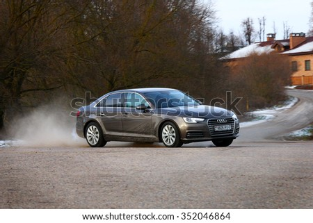 MINSK, BELARUS - DECEMBER 16, 2015: 2016 model year Audi A4 at the test drive event for automotive journalists from Minsk