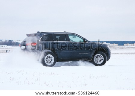 MINSK, BELARUS DECEMBER 13, 2016: New Jeep Grand Cherokee 4x4 limited at the test drive event for automotive journalists from Minsk